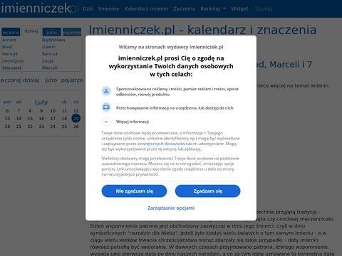 Imienniczek.pl - daty imienin, znaczenie imion