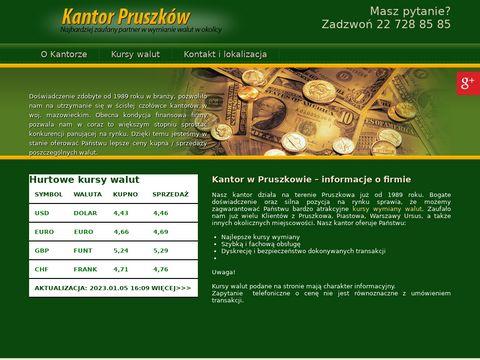 Kupno sprzedaż walut obcych kantorpruszkow.pl