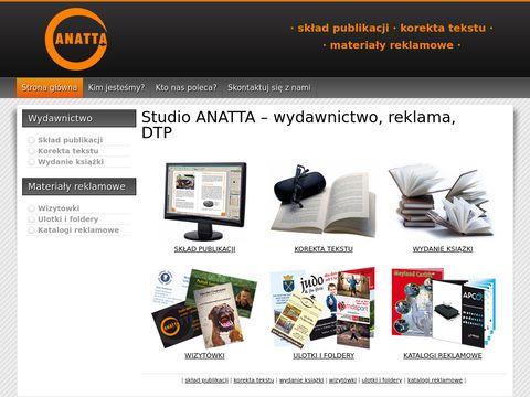 Studio Anatta - materiały reklamowe, wydawnictwo