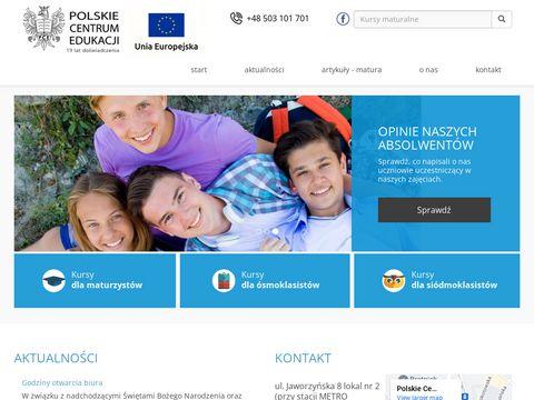 Kursy maturalne i gimnazjalne - Polskie Centrum Edukacji
