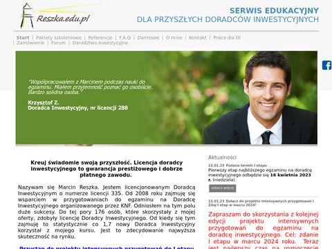 Reszka.edu.pl kurs na Doradcę Inwestycyjnego
