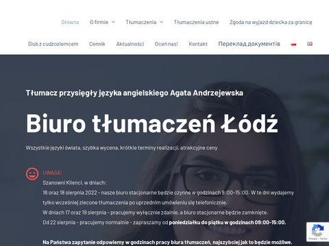 Agata Andrzejewska - biuro tłumaczy Łódź