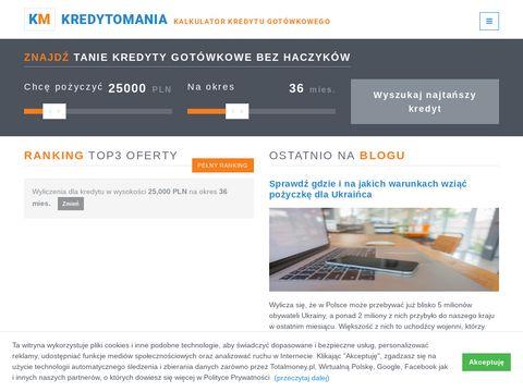 Kredytomania.eu ranking najtańszych kredytów