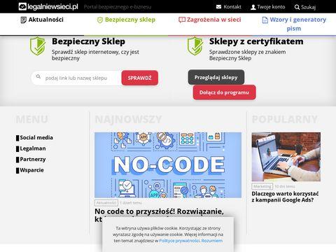 Legalniewsieci.pl regulamin sklepu internetowego