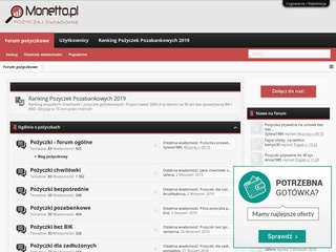Monetto.pl forum pożyczkowe kredyty, chwilówki