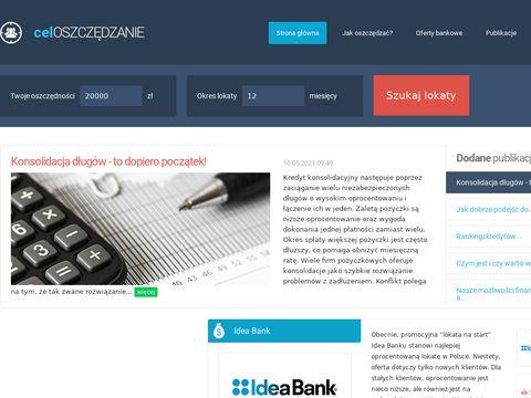Celoszczedzanie.pl aktualne oprocentowanie lokat