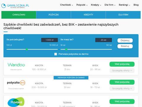 Chwileczka.pl zestawienie darmowych chwilówek