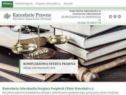 Kancelaria adwokacka adw. Witold Pospiech prawo gospodarcze