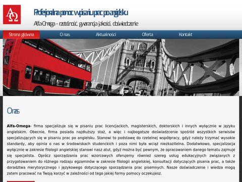 Alfaomega-edu.pl pisanie prac po angielsku