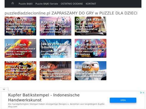 Puzzledladziecionline.pl układaj bajkowe układanki