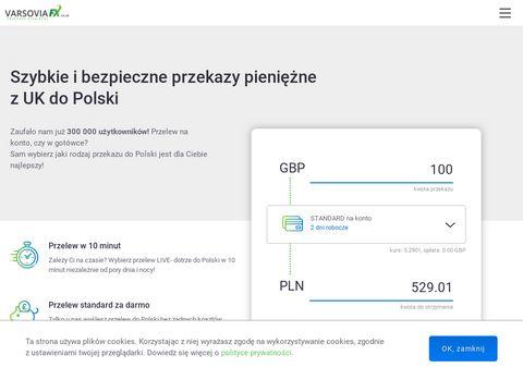 VarsoviaFX przelewy z UK
