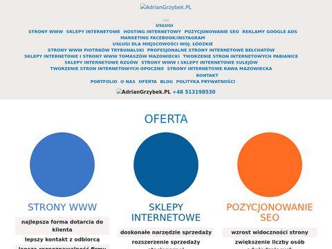 Adriangrzybek.pl tworzenie stron Tomaszów