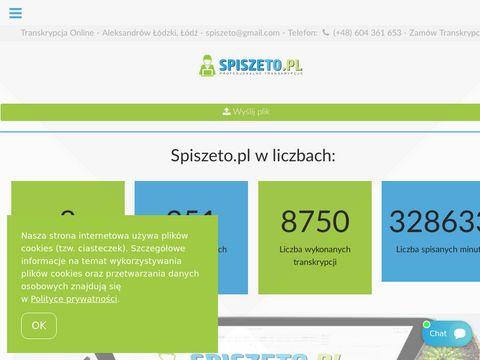 Spiszeto.pl transkrypcje
